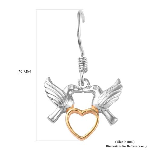 Platinum and Yellow Gold Overlay Sterling Silver Couple Bird Heart Hook Earrings