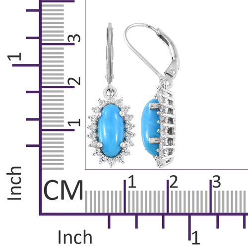 Arizona Sleeping Beauty Turquoise (Ovl), Natural White Cambodian Zircon Lever Back Earrings in Platinum Overlay Sterling Silver 4.750 Ct