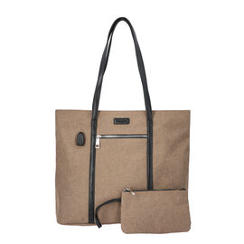 Multi Purpose Zipper Closure Tote Bag (40x13x35cm) with Wristlet (20x12cm) and Power Bank - Tan
