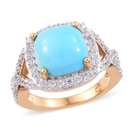 Arizona Sleeping Beauty Turquoise (Cush 10x10 mm), Natural Cambodian Zircon Ring in 14K Gold Overlay