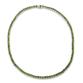 28 Carat Russian Diopside Necklace in Rhodium Plated Silver size 17.5 Inch