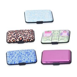 Set of 5 - Printed RFID Blocking Card Holder (Size 11x7x2 Cm) - Purple and Multi Colour