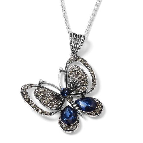 Simulated Blue Sapphire (Pear), Grey and Blue Austrian Crystal Butterfly Pendant With Chain (Size 30 With 2 inch Extender) in Silver Tone