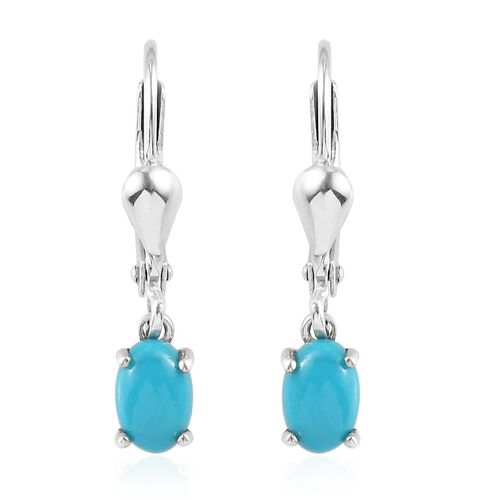 Arizona Sleeping Beauty Turquoise Lever Back Earrings in Platinum Overlay Sterling Silver 1.000  Ct.