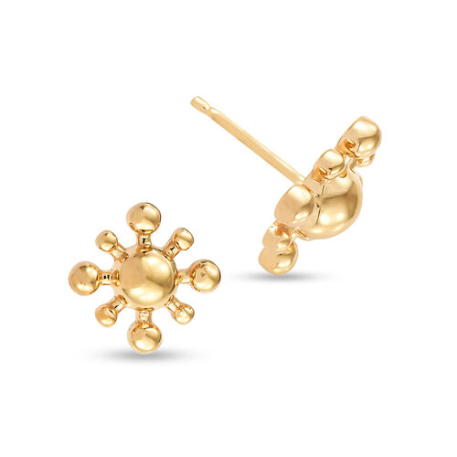 14K Gold Overlay Sterling Silver Snowflake Earrings (with Push Back)