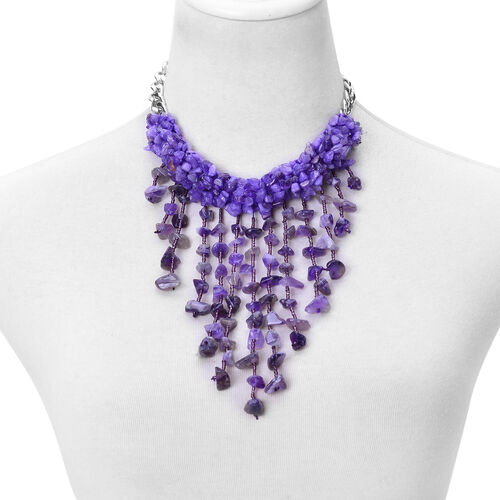Amethyst and Purple Colour Beads Waterfall Necklace (Size 16) in Silver Tone 539.000 Ct.