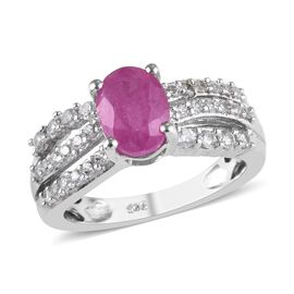 2.15 Ct Ilakaka Pink Sapphire and Zircon Solitaire Design Ring in Platinum Plated Silver