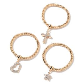 Set of 3 - White Austrian Crystal Popcorn Bracelet with Charms ( Adjustable) in Gold tone