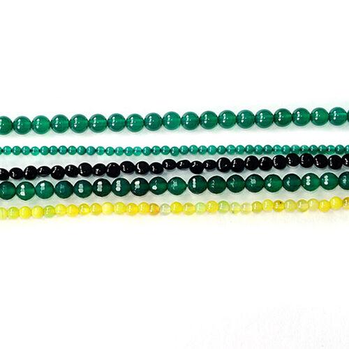 Green Agate Enhanced, Black Onyx, Yellow Agate Enhanced Gemstone Chain (Beads)  210.000  Ct.