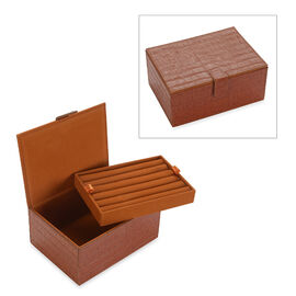2-Tier Croc Embossed Leather Jewellery Storage Box with Magnetic Flap (Size 18x13x9 Cm) - Brick Red