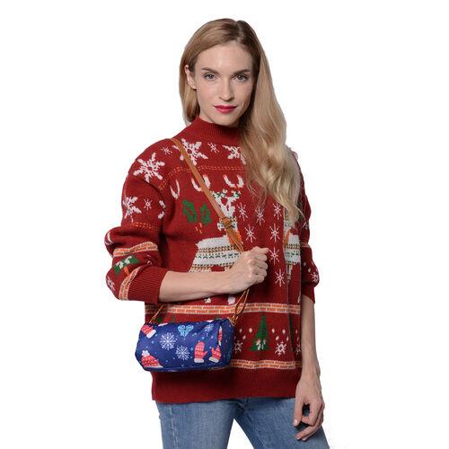 Christmas Theme Print Crossbody Bag (19x10.5x10.5cm) - Teal