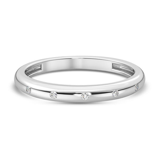 Diamond Band Ring in Platinum Overlay Sterling Silver 0.05 Ct.