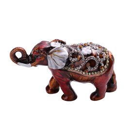 Multi Austrian Crystal Studded Enamelled Elephant Trinket Box in Antique Rose Gold Tone
