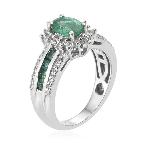 AA Kagem Zambian Emerald (Ovl), Natural Cambodian Zircon Ring in Platinum Overlay Sterling Silver 1.500 Ct.