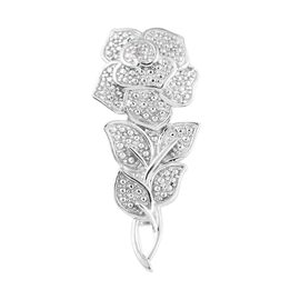 Diamond Eternal Rose Floral Brooch in Platinum Plated Sterling Silver 4 Grams