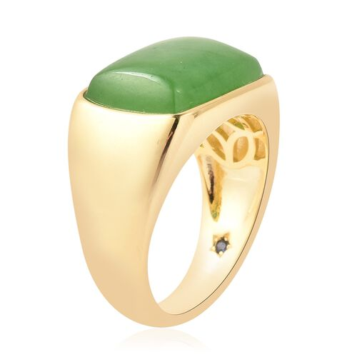 GP - Green Jade and Blue Sapphire Ring in Yellow Gold Overlay Sterling Silver 16.02 Ct, Silver wt 8.43 Gms