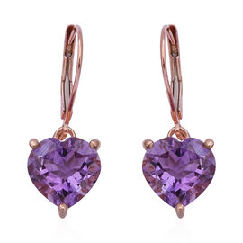 Rose De France Amethyst (Hrt) Lever Back Earrings in Rose Gold Overlay Sterling Silver 5.78 Ct.
