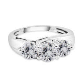 NY Close Out 14K White Gold CERTIFIED Diamond (I1/G-H) Trilogy Ring 2.00 Ct, Gold wt. 4.24 Gms