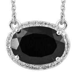 Black Tourmaline (Ovl 14x10 mm, 5.80 Ct), Natural Cambodian Zircon Necklace (Size 18) Platinum Overl