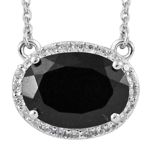 Black Tourmaline (Ovl 14x10 mm, 5.80 Ct), Natural Cambodian Zircon Necklace (Size 18) Platinum Overl