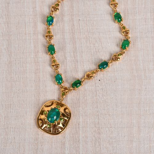 Green Ethiopian Opal Enamelled Necklace (Size 18) in 14K Gold Overlay Sterling Silver 7.75 Ct, Silver wt. 18.00 Gms
