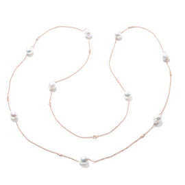 Isabella Liu Twilight Collection - Baroque Edison Pearl and Diamond Necklace (Size 60) in Rose Gold