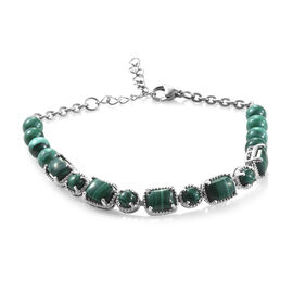 Malachite (Oct) Bracelet (Size 7.5 with 1.5 inch Extender) in Platinum Plated 30.750 Ct.