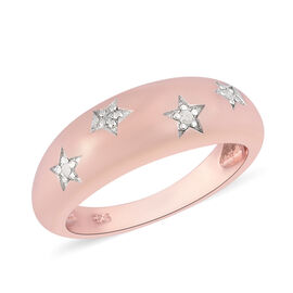Diamond Star Dome Ring in Rose Gold Overlay Sterling Silver