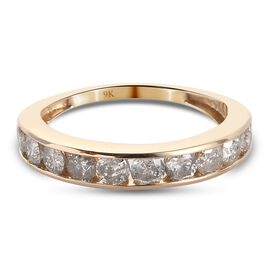 9K Yellow Gold SGL Certified Diamond (I3/G-H) Half Eternity Band Ring 1.00 Ct.