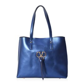 100% Genuine Leather Tote Bag with Zipper Closure (Size 38x14x31 Cm) - Metallic Navy