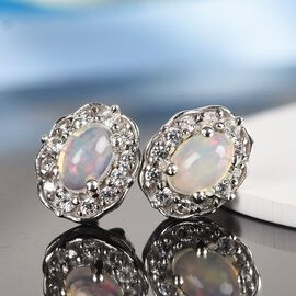 Ethiopian Welo Opal and Natural Cambodian Zircon Stud Earrings (with Push Back) in Platinum Overlay