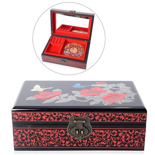 2 - Layer  Chinese Lacquer  Camellia Pattern Jewellery Box with Inside Mirror and Removable Tray (Si