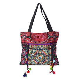 Embroidered Floral Tote Bag with Zipper Closure and Drawstring (Size 45x38 Cm) - Multi