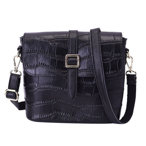 100% Genuine Leather Croc Pattern Crossbody Bag (20x9.5x18cm) - Black