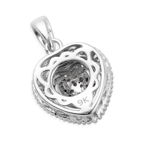 9K White Gold SGL Certified Diamond (Rnd and Bgt) (I3/G-H) Heart Pendant 0.500 Ct.
