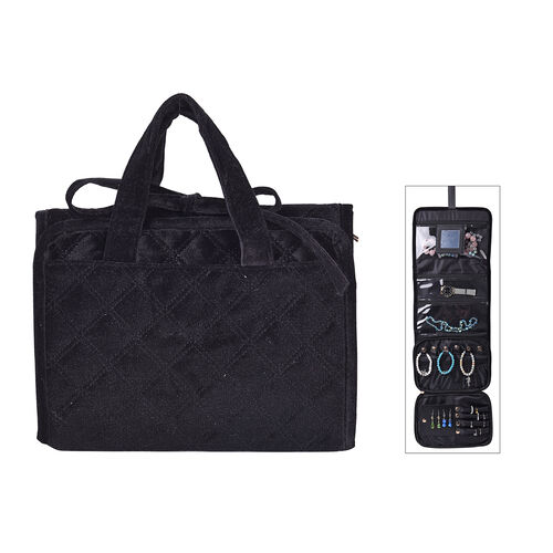 Foldabale Travel Jewellery Storage Pouch with Hanging Hook in Black Colour