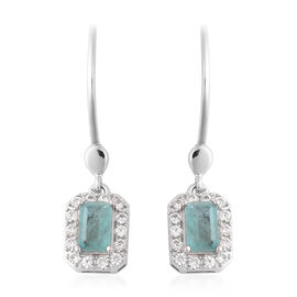 Grandidierite (Oct), Natural Zircon Lever Back Earrings in Rhodium Overlay Sterling Silver 1.75 Ct.