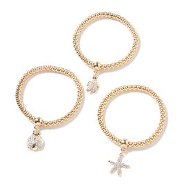 Set of 3 White and Black Austrian Crystal Charm Bracelet (Size 7) in Yellow Gold Tone