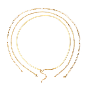 Set of 3 -  Necklace Pure White Stainless Steel