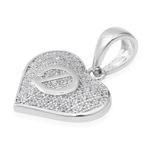 ELANZA Simulated Diamond (Rnd) Heart with Initial D Pendant in Rhodium Overlay Sterling Silver