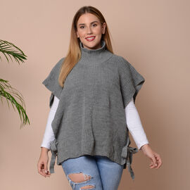 High Collar Knit Vest with Adjustable Strap on Sides (Size 68x70cm) - Grey