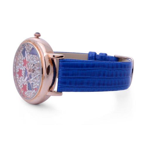 GENOA Japanese Movement Enameled Dial with White Austrian Crystal Water Resistant Watch in ION Plated Rose Gold with Blue Strap