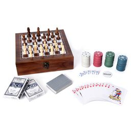Travel Games Set in Folding Checkerboard Box (includes 32 Chess Pieces, 2 Decks of Cards, 5 Dice and