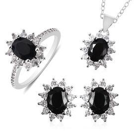 3 Piece Set - Boi Ploi Black Spinel and Simulated Diamond Sunburst Theme Ring, Stud Earrings (with P