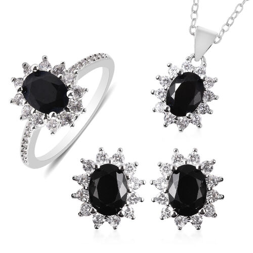 3 Piece Set - Boi Ploi Black Spinel and Simulated Diamond Sunburst Theme Ring, Stud Earrings (with P