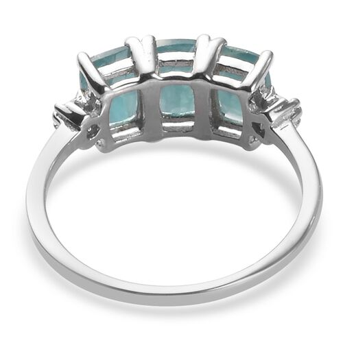 AA Grandidierite and Diamond Ring in Platinum Overlay Sterling Silver 1.65 Ct.
