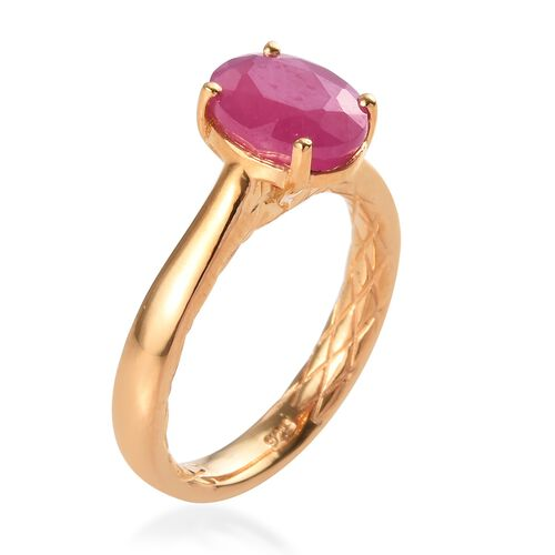 Ilakaka Pink Sapphire (Ovl 9x7) Solitaire Ring in Yellow Gold Vermeil Sterling Silver 2.750 Ct.