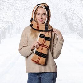 Ultra Soft Plaid Hooded Circle Scarf (Size 17x200cm) - Camel and Black
