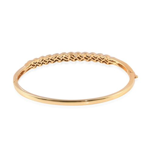 Natural Diamond (Bgt) Bangle (Size 7.5) in 14K Gold Overlay Sterling Silver 1.00 Ct, Silver wt 13.00 Gms, Number of Diamonds 203.