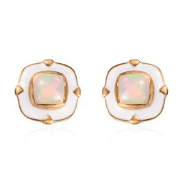 Ethiopian Welo Opal Enamelled Stud Earrings (with Push Back) in 14K Gold Overlay Sterling Silver
